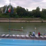 La partenza della squadra dei canottieri per la processione della Madonna Fiumarola