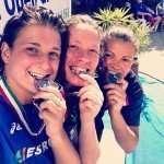 Elena Bertocchi, Maria Marconi, Michelle Turco inviano saluti agli amici del CCLazio dai Campionati Italiani Assoluti svoltosi a Cosenza il 27 luglio 2014