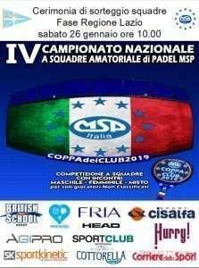 Sorteggio squadre Coppa dei Club 2019 di padel al Circolo Canottieri Lazio