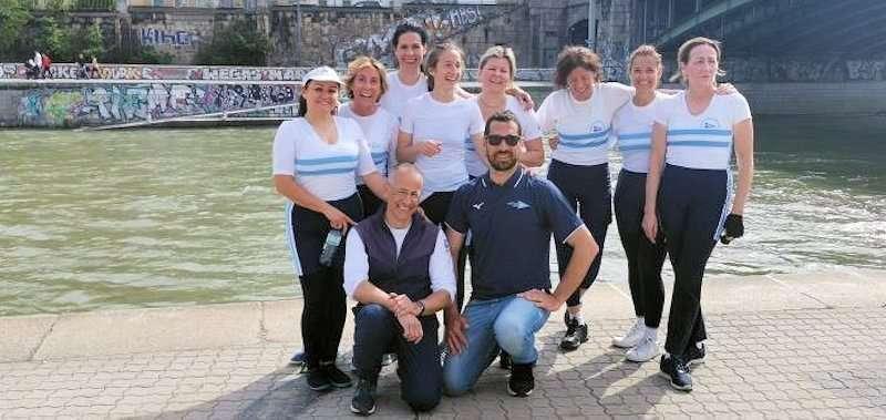 La squadra di canottaggio 8+ femminile alla Capital Cup 2019 a Vienna