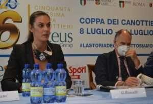 Gabriella Bascelli e Daniele Masci alla conferenza stampa di presentazione della Coppa dei Canottieri 2020 di calcio a 5