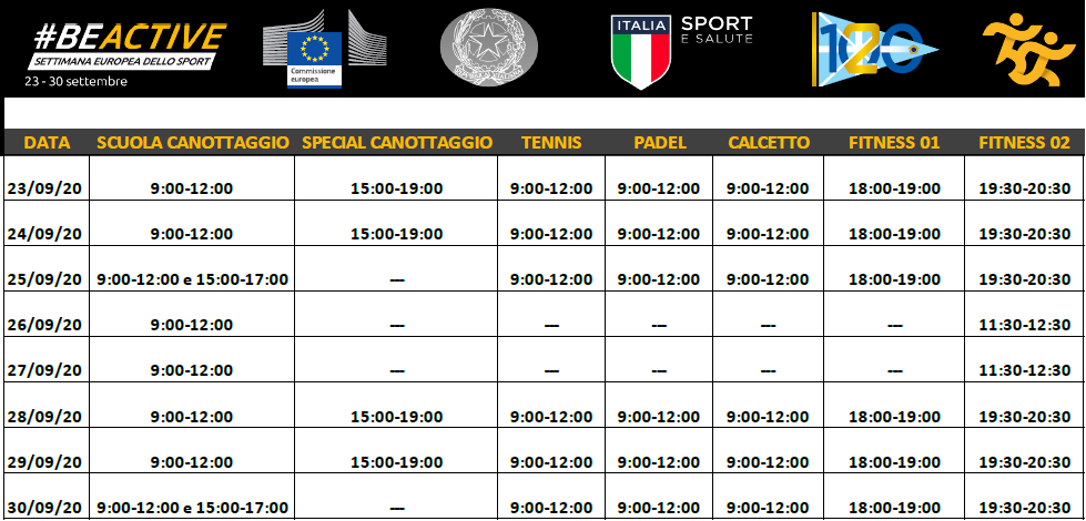 Programma della Settimana Europea dello Sport 2020 al Circolo Canottieri Lazio