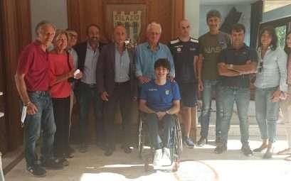 L'atleta paralimpico Antonio Fantin in visita al Circolo Canottieri Lazio